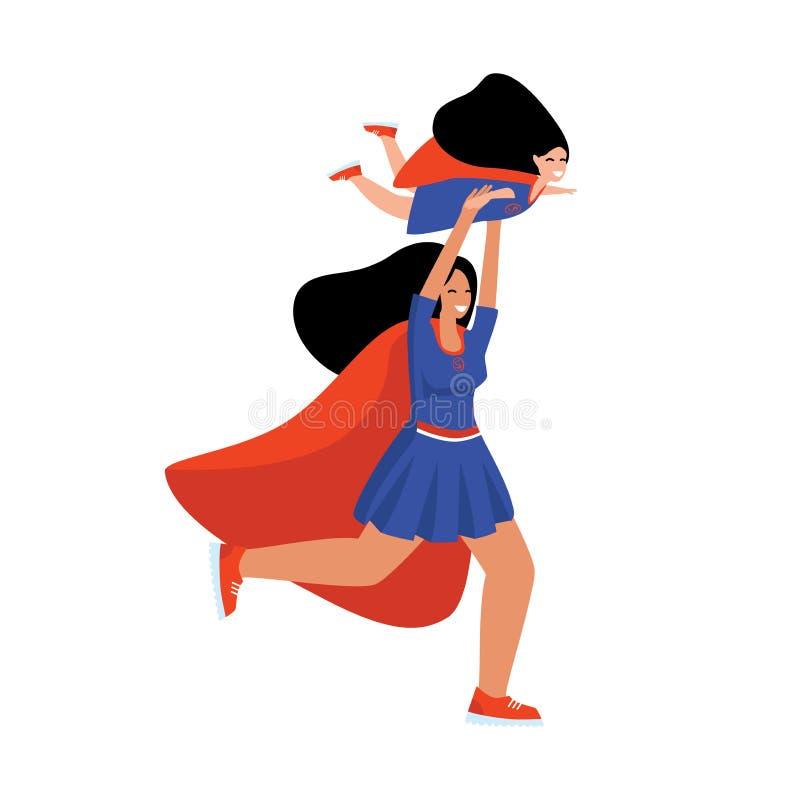 妇女超级英雄仿效儿童超级英雄的飞行在他的被伸出的手上的 库存例证