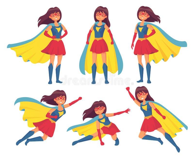 妇女超级英雄字符 非凡的女性服装的奇迹女孩有斗篷的 超级英雄英雄字符传染媒介例证 向量例证