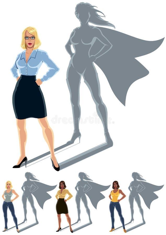 妇女超级英雄概念 向量例证