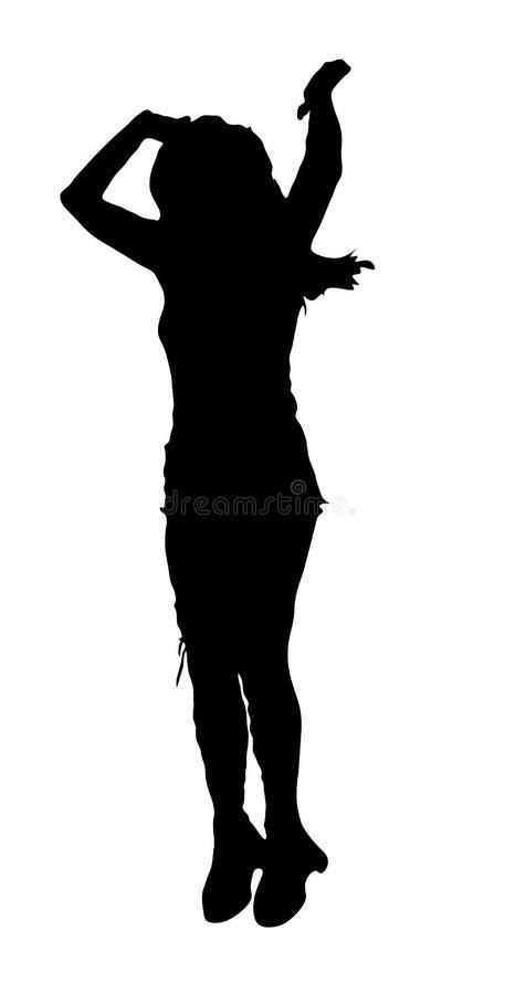 妇女跳舞剪影 向量例证