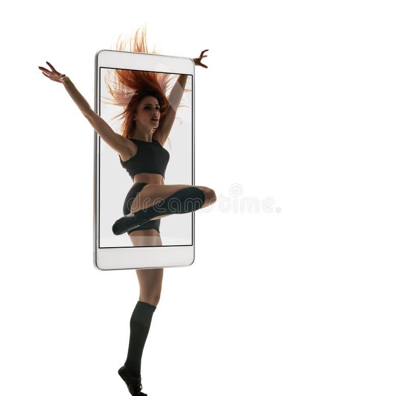 妇女跳舞的当代 库存图片
