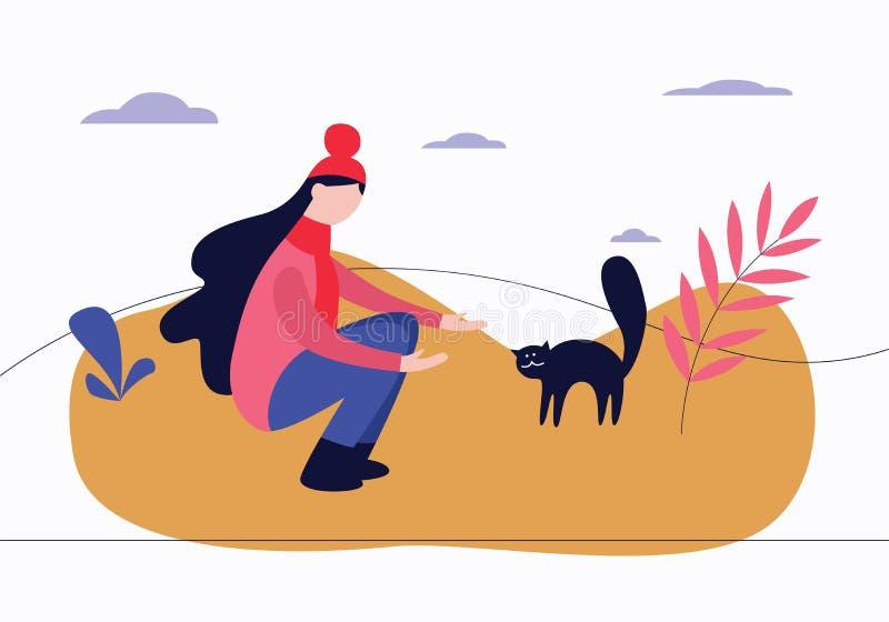 妇女蹲下了室外与电话姿态对猫被成拱形的平的动画片样式 库存例证