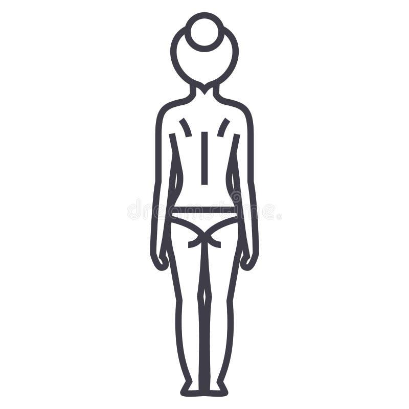妇女身体后面传染媒介线象,标志,在背景,编辑可能的冲程的例证 皇族释放例证