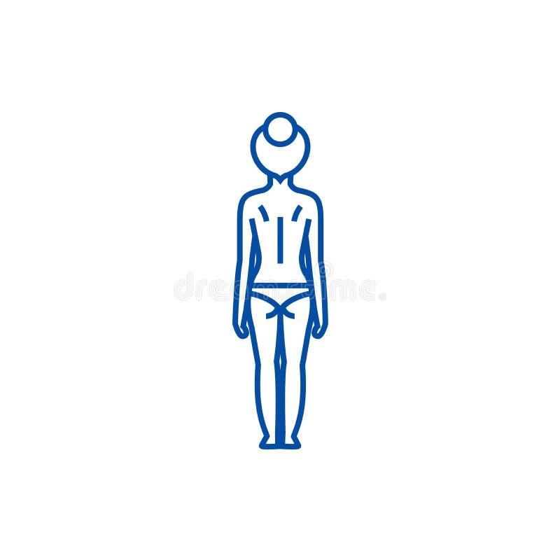 妇女身体后面线象概念 妇女身体后面平的传染媒介标志,标志,概述例证 向量例证