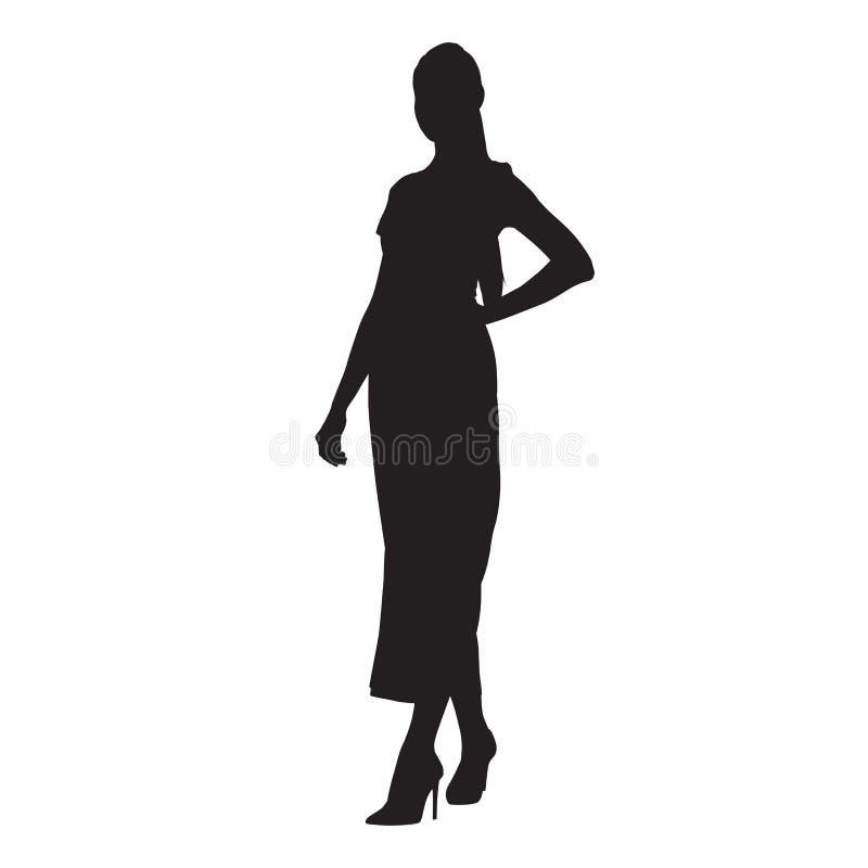 妇女身分穿戴的长的衣裳 库存例证