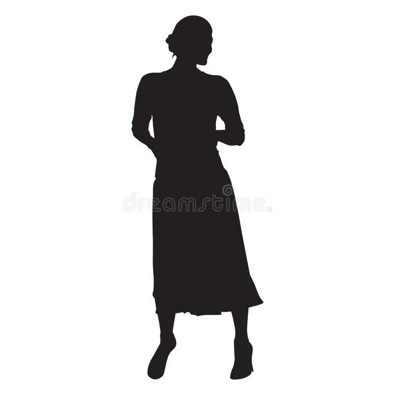 妇女身分 长的裙子,在口袋的手 向量例证