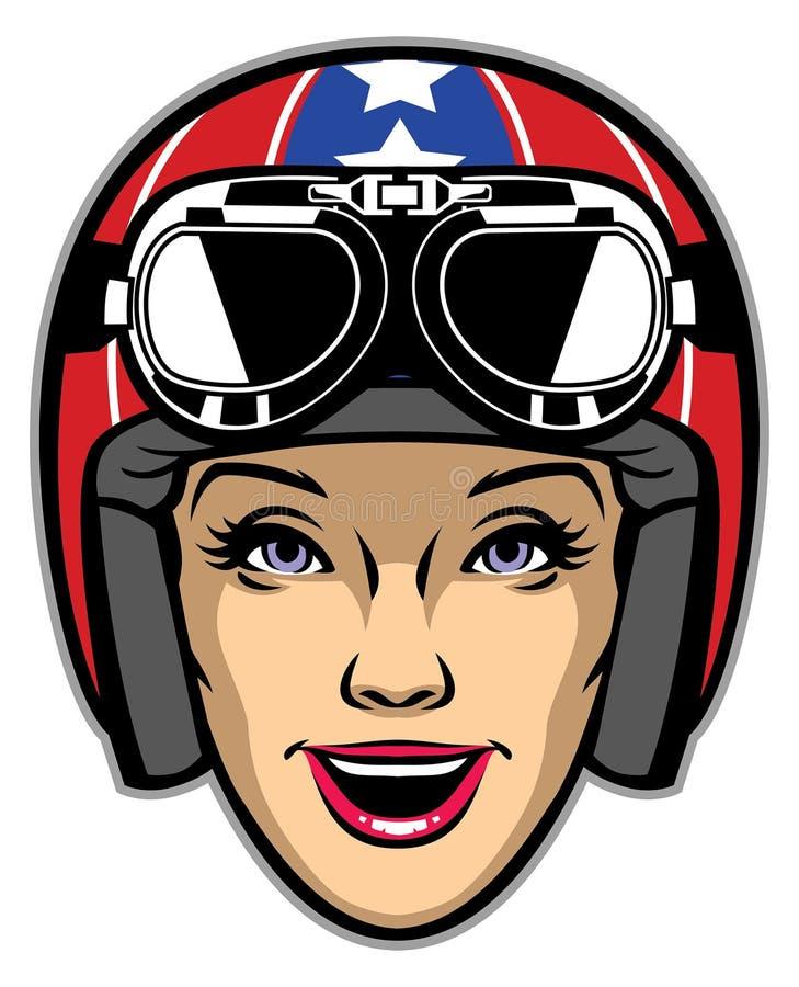 妇女车手佩带的摩托车盔甲 皇族释放例证