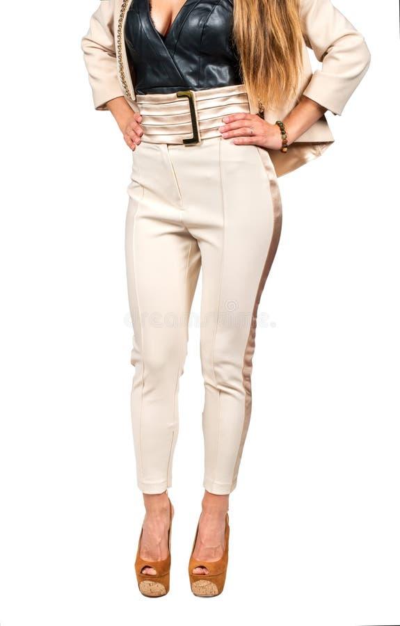 妇女轻的裤子 库存图片