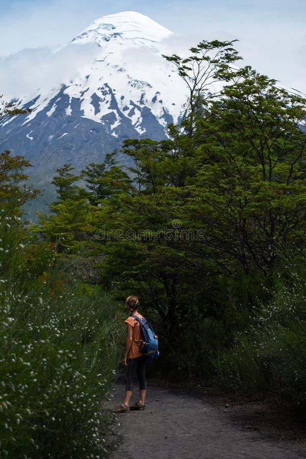 妇女远足者在道路站立 免版税图库摄影