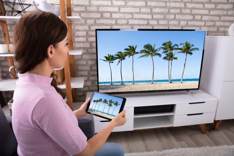 妇女连接的电视频道通过数字片剂 库存照片