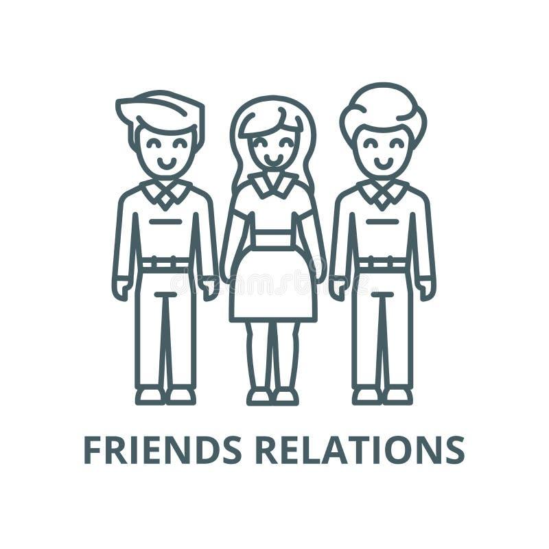 妇女选择,朋友,人联系传染媒介线象,线性概念,概述标志,标志 向量例证