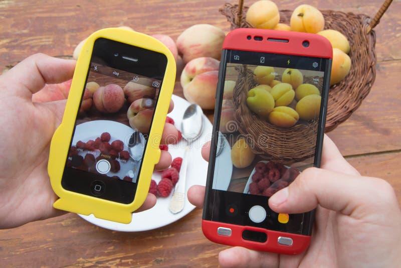 妇女递拍新鲜的健康有机果子电话照片  午餐,晚餐智能手机摄影  库存照片