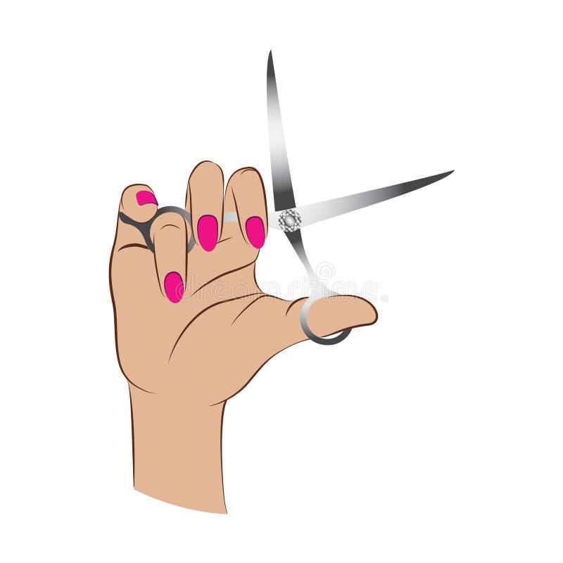 妇女递拿着剪 库存例证