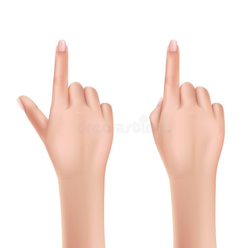 妇女递指向与手指现实传染媒介 库存例证