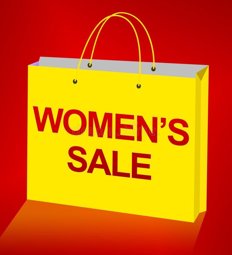 妇女销售显示零售促进3d例证 库存例证