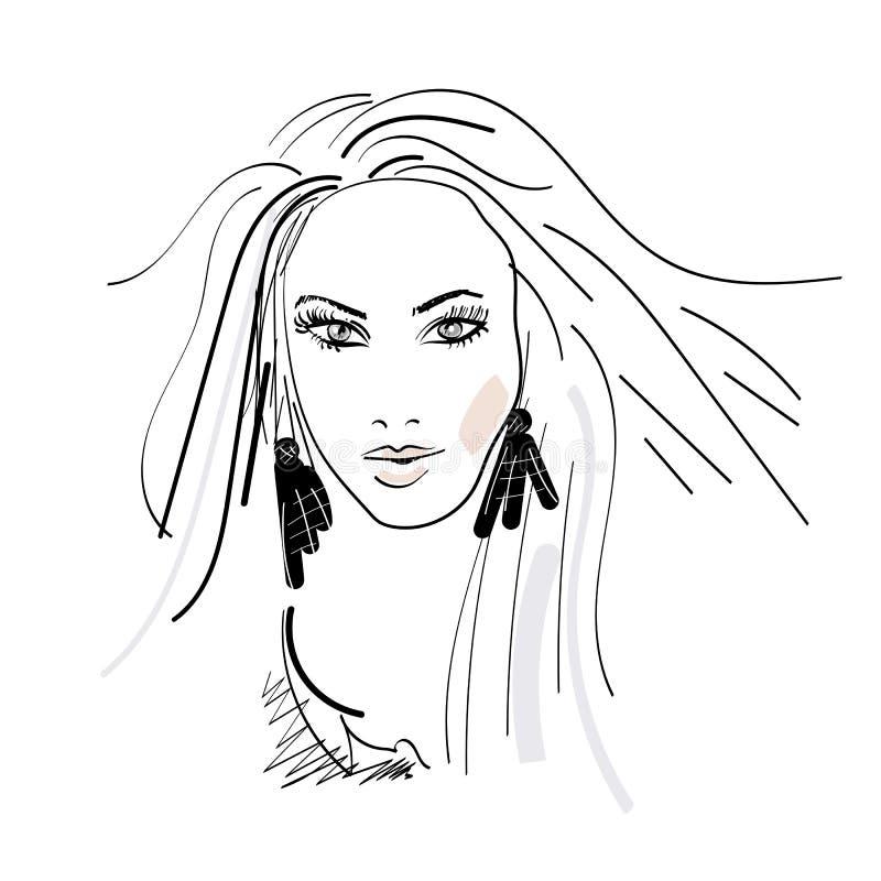 妇女长发发型象、illistration秀丽和fasihon商标  库存例证