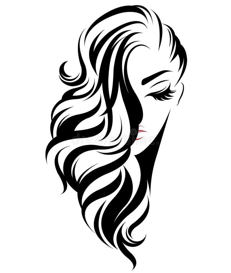 妇女长的发型象,白色背景的商标妇女 向量例证