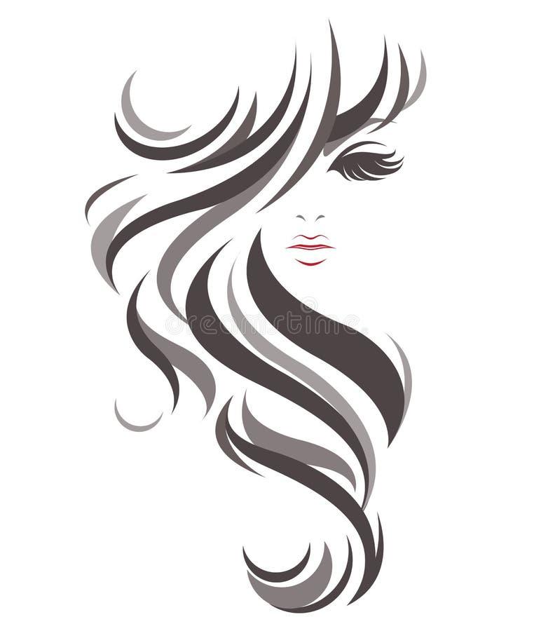 妇女长的发型象,白色背景的商标妇女 库存例证