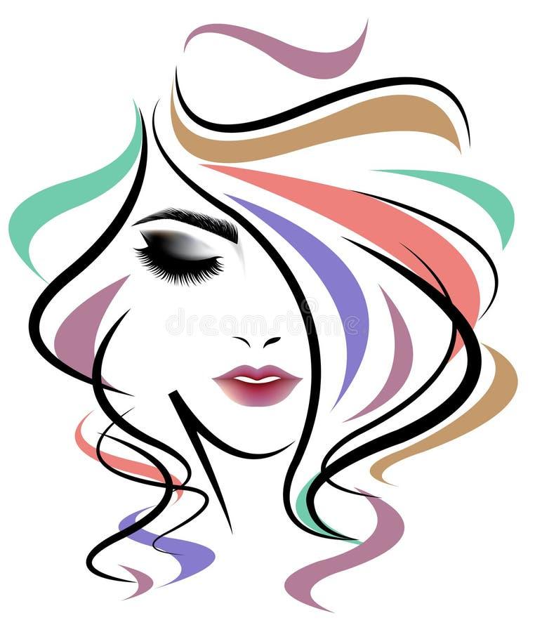 妇女长的发型,在白色背景的妇女面孔 库存例证