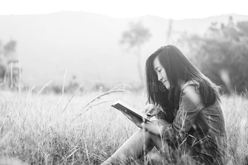 妇女阅读书在草甸 免版税库存图片