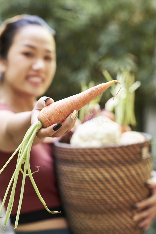 妇女陈列新鲜的红萝卜 免版税库存照片