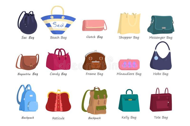 妇女集合的袋子 提包的汇集 库存例证