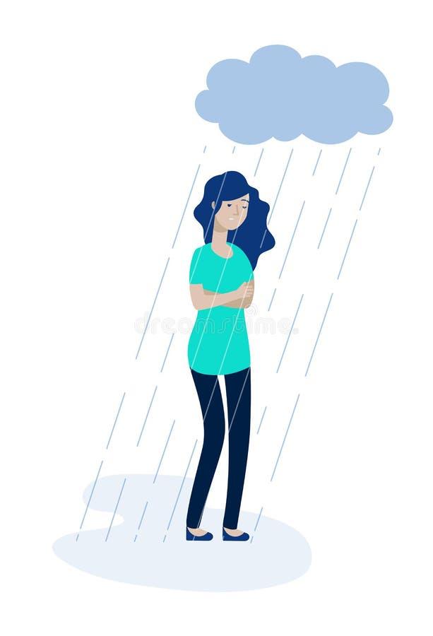 妇女雨云 沮丧的女孩感觉偏僻的消沉不快乐的青少年的孑然悲伤哀情重音无积极性传染媒介 库存例证