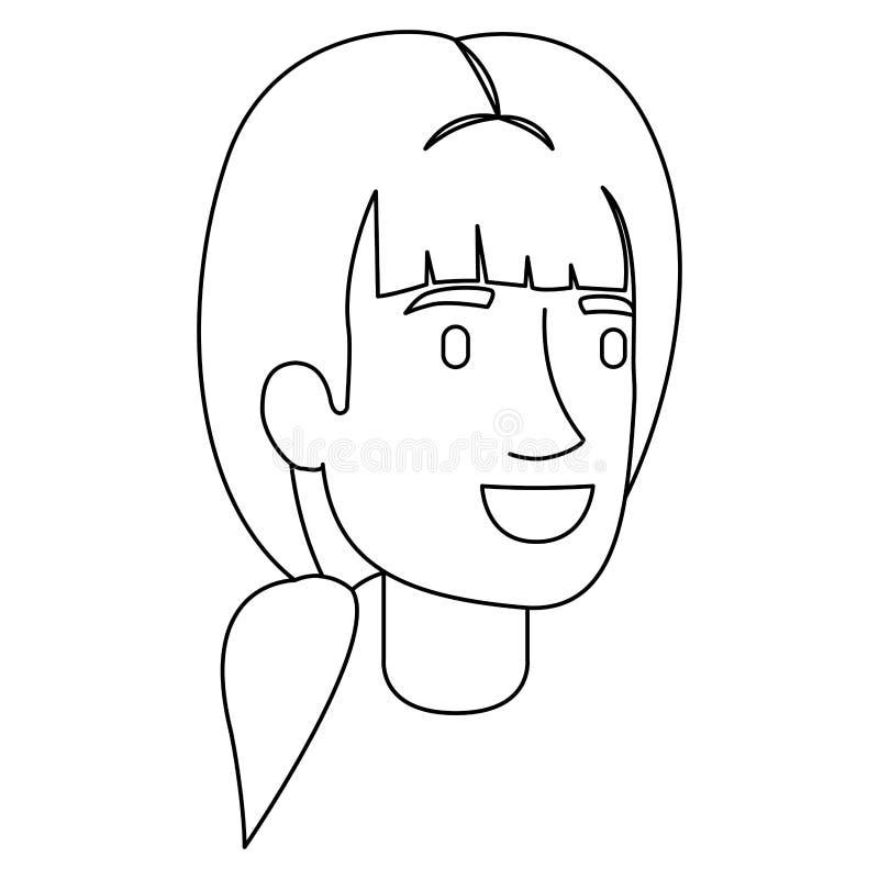 妇女面孔单色剪影与马尾辫发型和轰隆的 库存例证