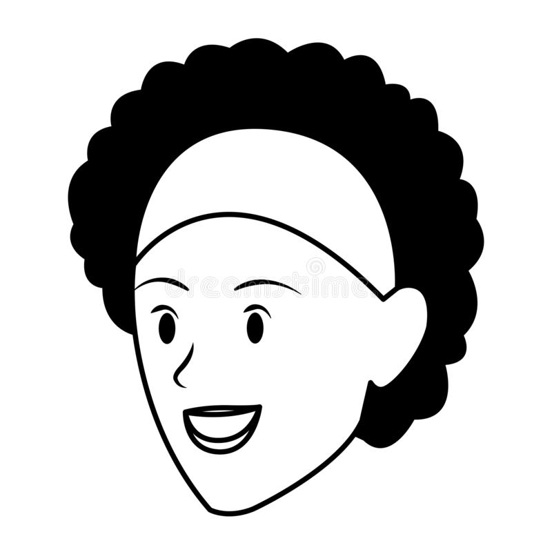 妇女面孔在黑白的具体化卡通人物 库存例证