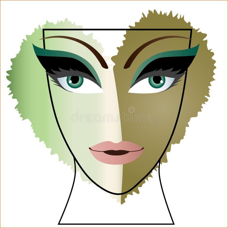 妇女面孔心脏眼睛 库存例证
