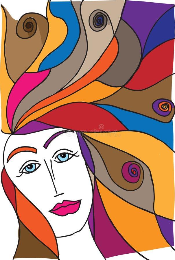 妇女面孔抽象剪影  库存例证