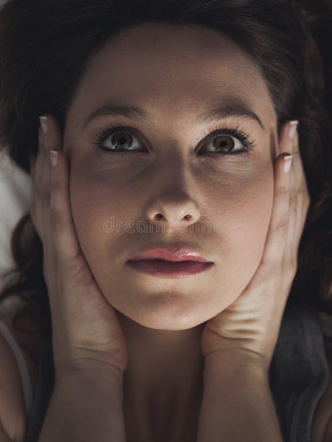 妇女面孔细节和手 免版税图库摄影