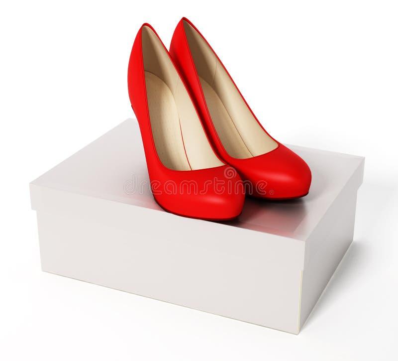 妇女鞋子和白色箱子 3d例证 向量例证