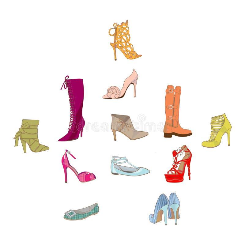 妇女鞋子的传染媒介例证,起动集合 手淹没鞋类例证 时尚汇集剪影 向量例证