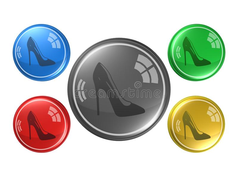 妇女鞋子,按钮, 3d例证 库存例证