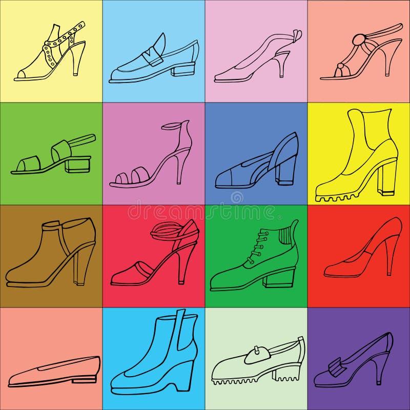 妇女鞋子,被设置的起动的例证 手淹没鞋类例证 时尚汇集剪影 库存照片