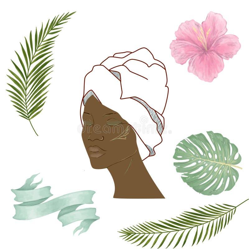 妇女顶头剪影 面孔前面viewand叶子,花,丝带典雅的剪影一部分的人面 例证 向量例证