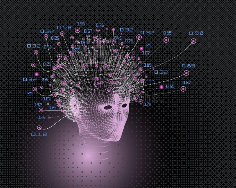 妇女顶头栅格 r 抽象人工智能背景 机器学习审美设计 多角形头 库存例证