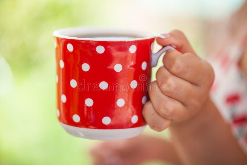 妇女饮料咖啡茶杯 免版税库存照片