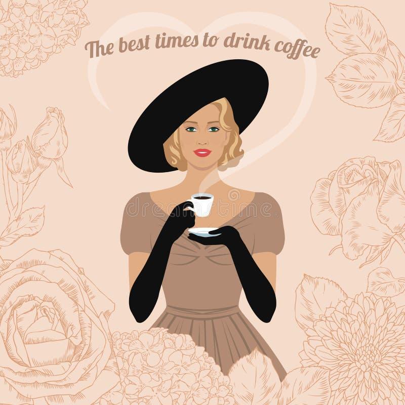 妇女饮用的咖啡 向量例证