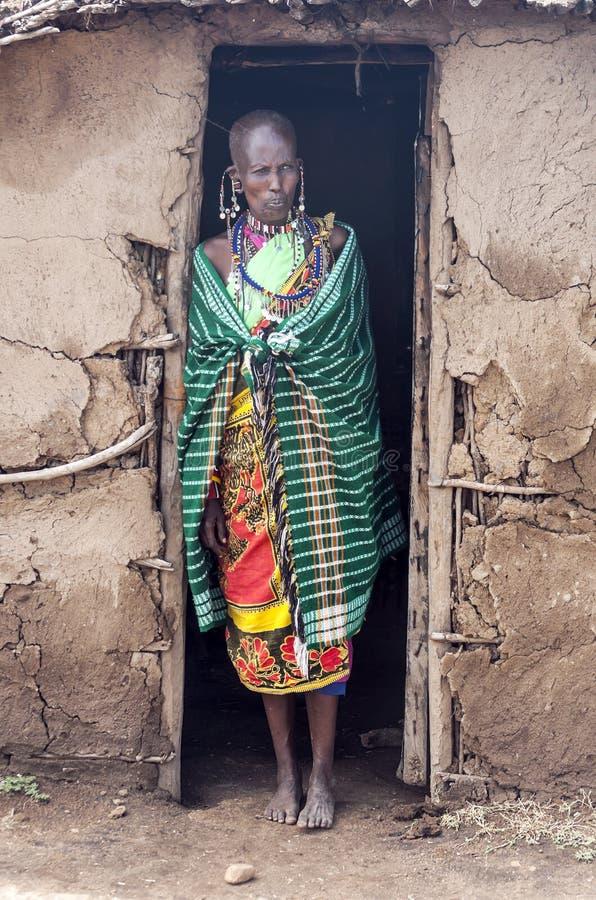 妇女马塞语玛拉画象  库存照片