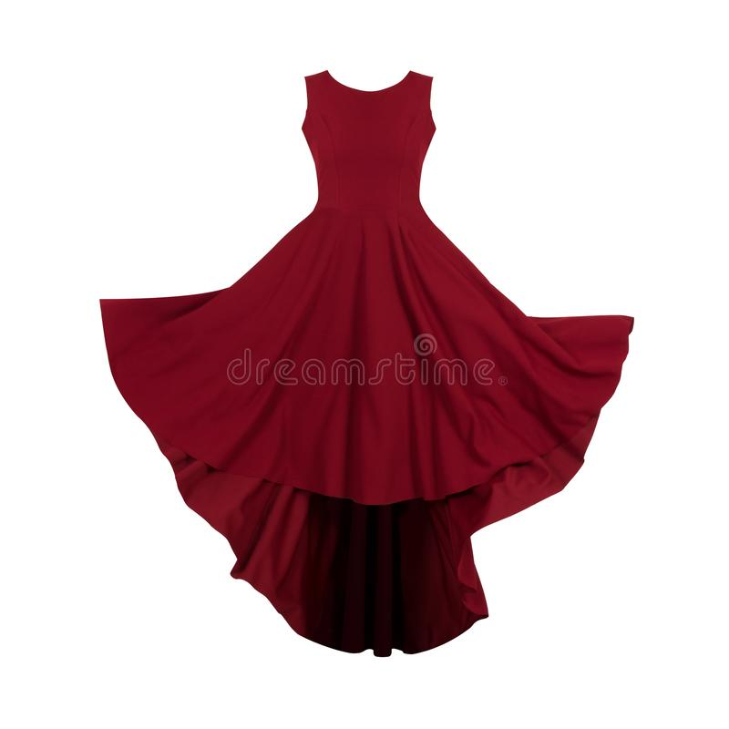 妇女鬼魂时装模特的红色礼服 免版税库存照片