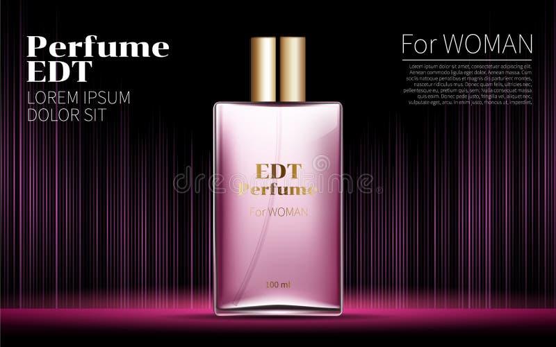 妇女魅力桃红色在方形的玻璃海报包含的瓶香水 皇族释放例证