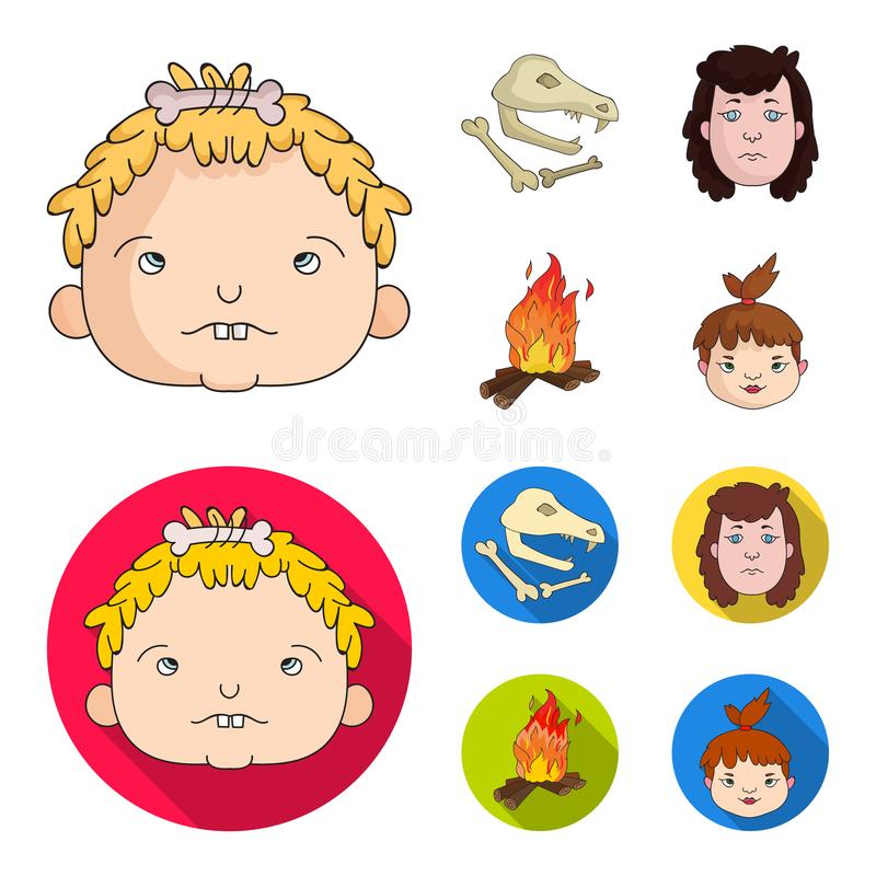 妇女,头发,面孔,篝火 在动画片,平的样式传染媒介标志股票例证网的石器时期集合汇集象 皇族释放例证
