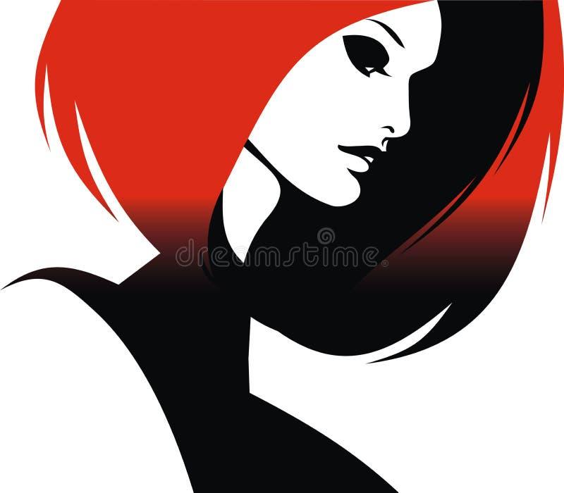 妇女头和他们的头发(美发师传染媒介) 向量例证