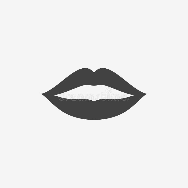 妇女嘴唇黑白照片象 亲吻印刷品传染媒介例证 向量例证