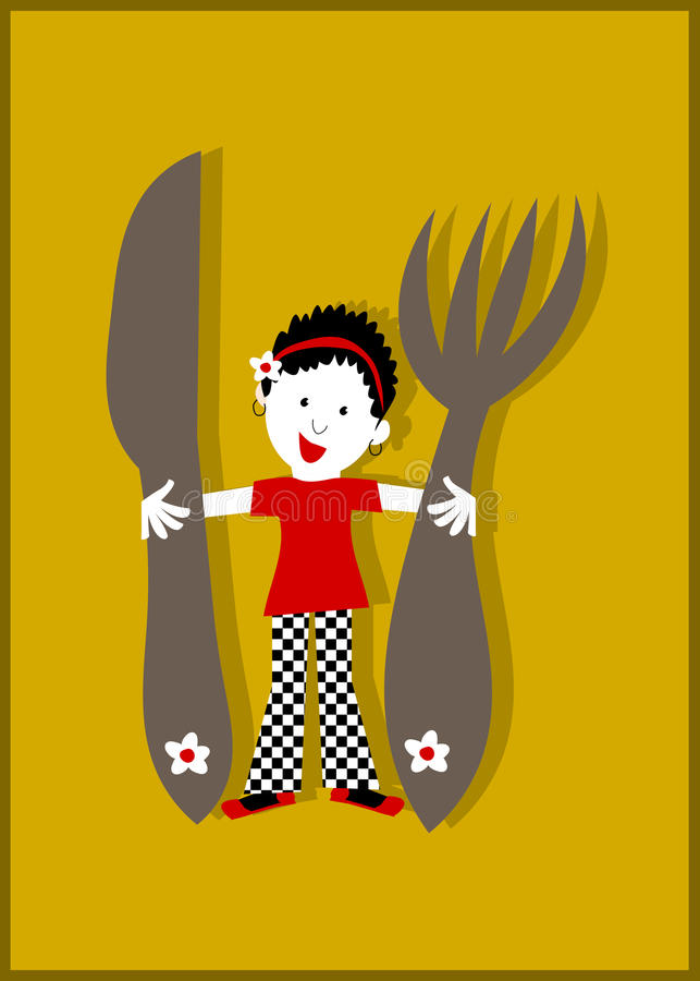 妇女主妇、巨大的刀子和叉子 向量例证