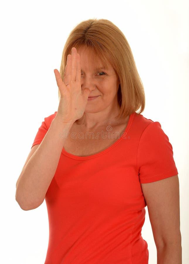 妇女鼻子故意怠慢姿态 免版税库存照片