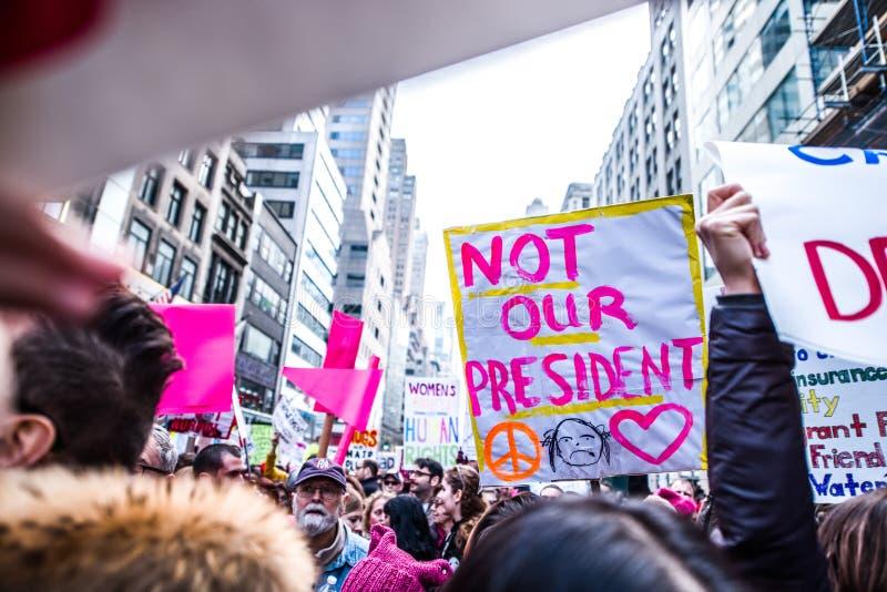 妇女3月2017 NYC 免版税图库摄影