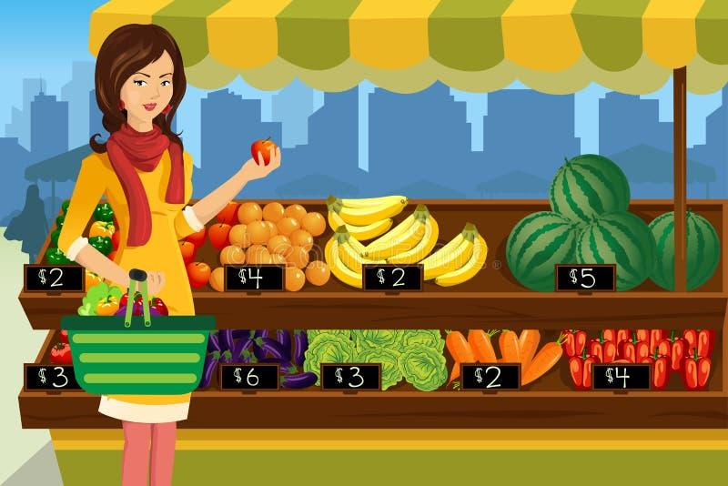 妇女购物在一个室外农夫市场上 向量例证